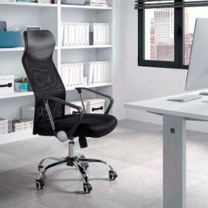 silla de oficina grande y negra