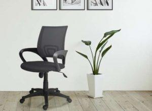 silla de oficina negra al lado de una maceta