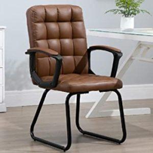 silla de oficina marrón sin ruedas